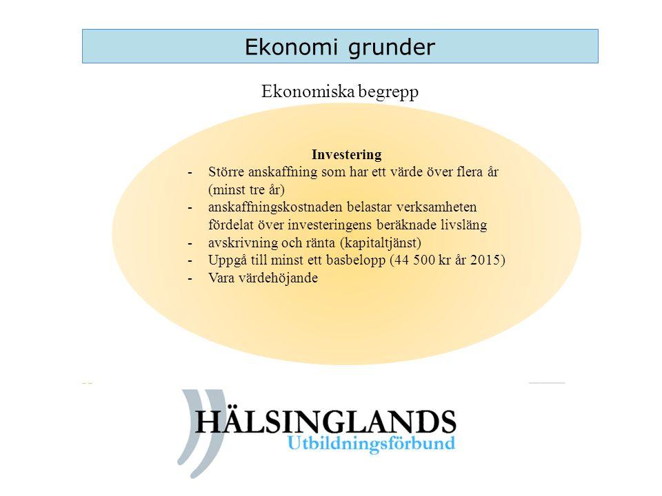 Ekonomi grunder Ekonomiska begrepp Investering -Större anskaffning som har ett värde över flera år (minst tre år) -anskaffningskostnaden belastar verk