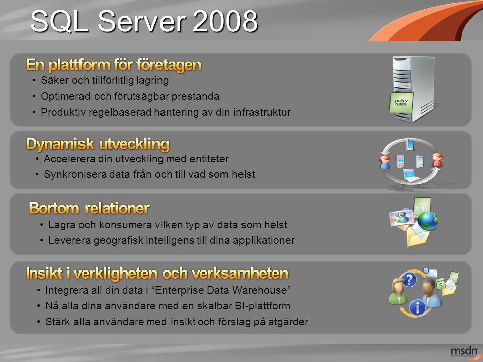 SQL Server 2008 Accelerera din utveckling med entiteter Synkronisera data från och till vad som helst Lagra och konsumera vilken typ av data som helst