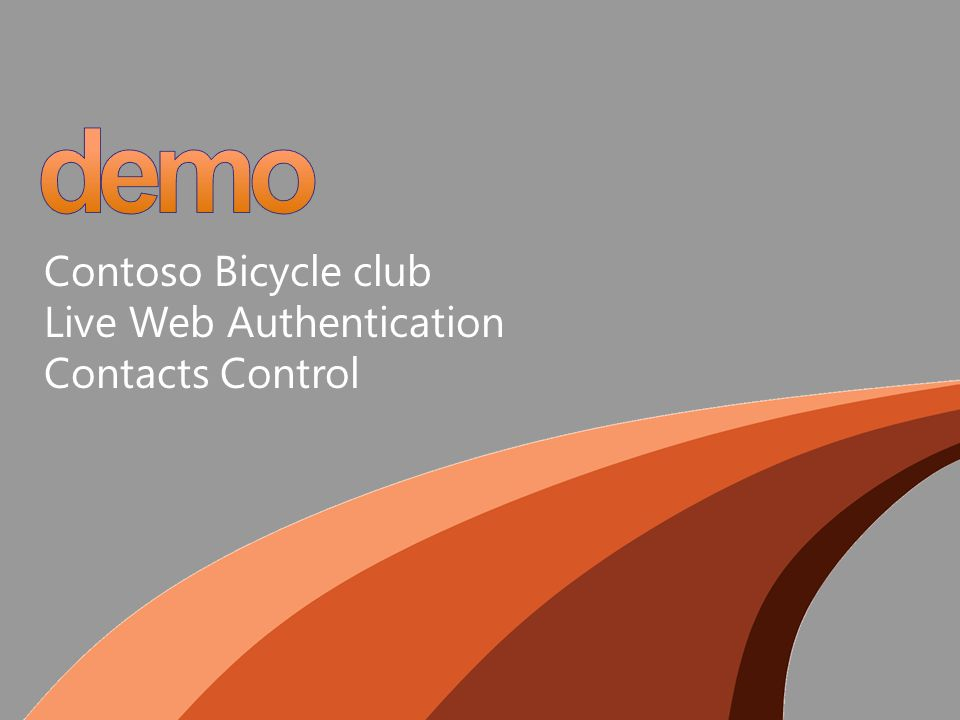 Contoso Bicycle club Live Web Authentication Contacts Control
