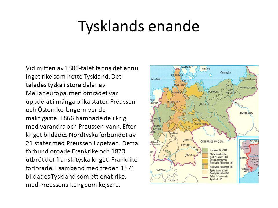Tysklands enande Vid mitten av 1800-talet fanns det ännu inget rike som hette Tyskland.