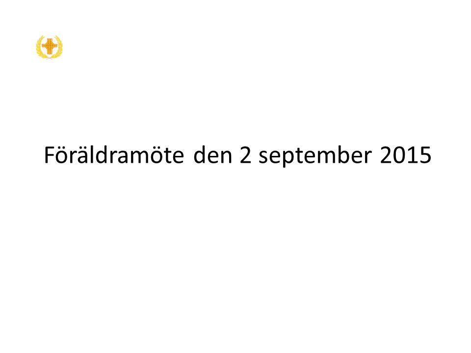 Föräldramöte den 2 september 2015