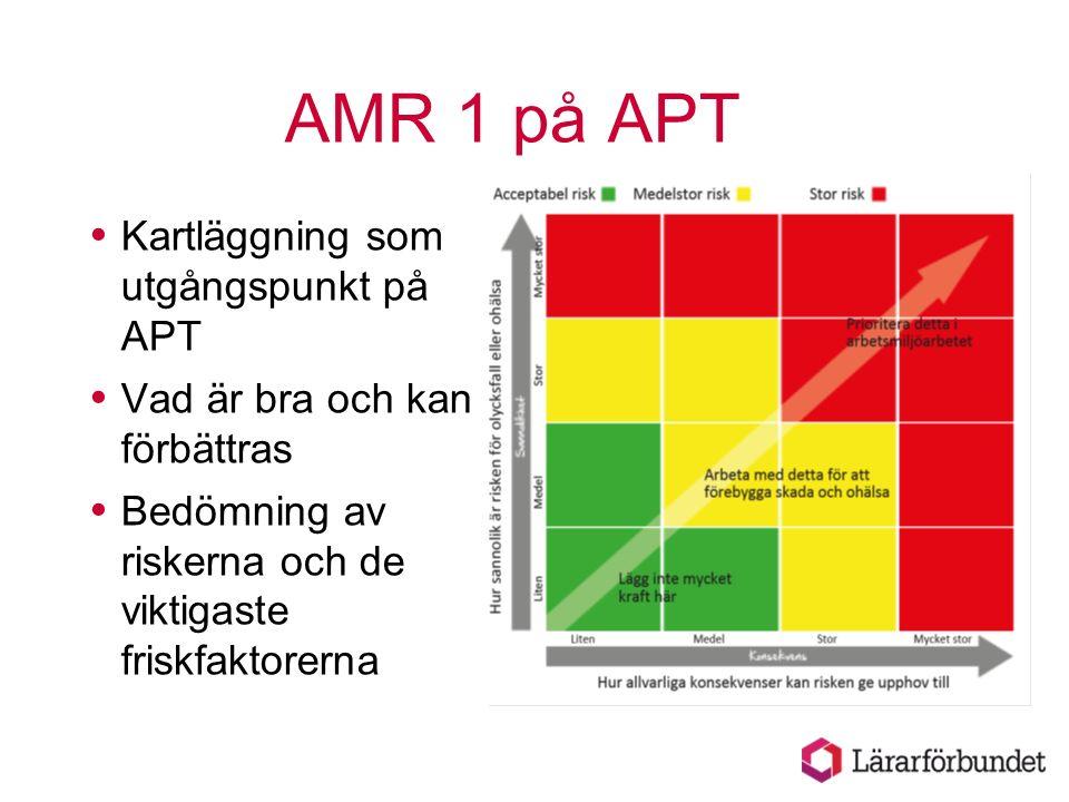 AMR 1 på APT  Kartläggning som utgångspunkt på APT  Vad är bra och kan förbättras  Bedömning av riskerna och de viktigaste friskfaktorerna
