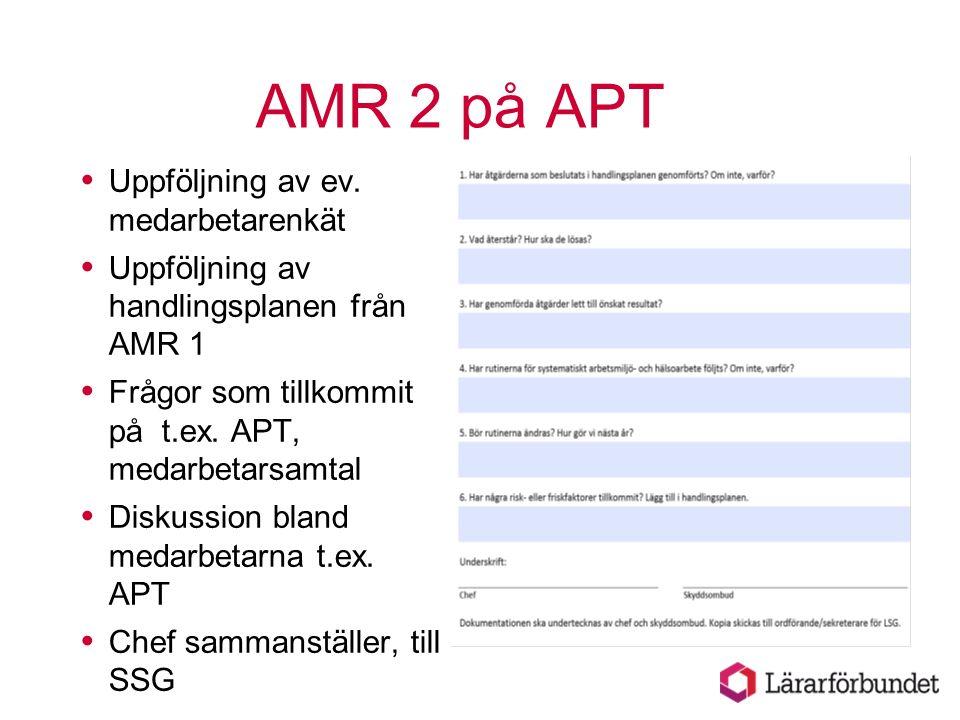 AMR 2 på APT  Uppföljning av ev. medarbetarenkät  Uppföljning av handlingsplanen från AMR 1  Frågor som tillkommit på t.ex. APT, medarbetarsamtal 