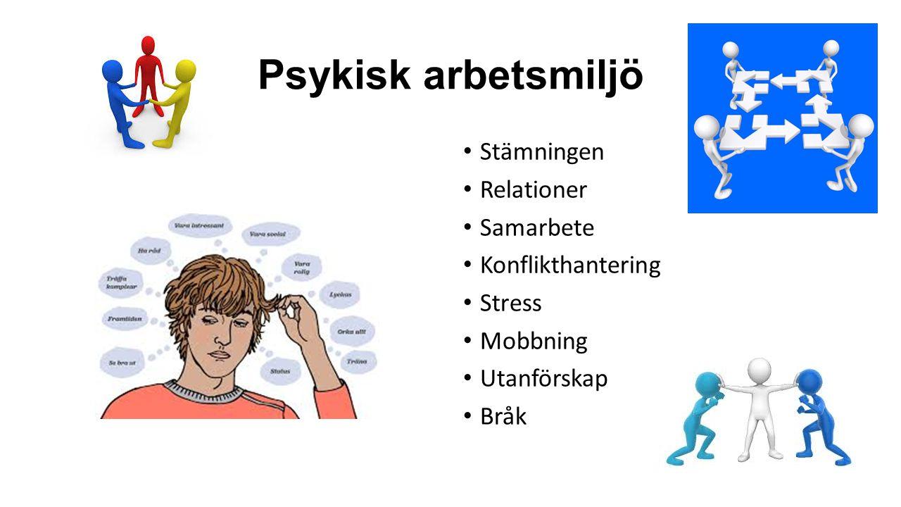 Psykisk arbetsmiljö Stämningen Relationer Samarbete Konflikthantering Stress Mobbning Utanförskap Bråk