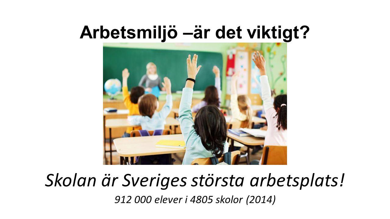 Arbetsmiljö –är det viktigt.Skolan är Sveriges största arbetsplats.