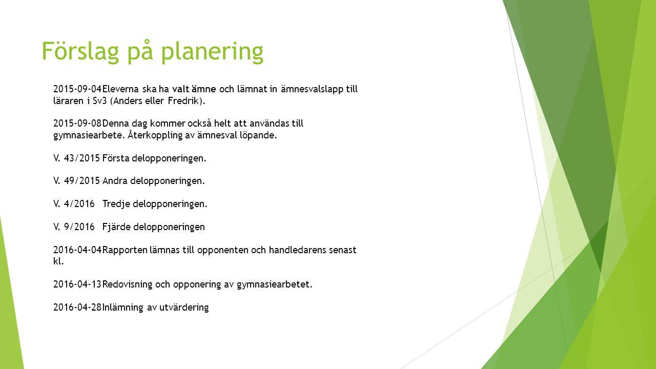 Förslag på planering 2015-09-04Eleverna ska ha valt ämne och lämnat in ämnesvalslapp till läraren i Sv3 (Anders eller Fredrik). 2015-09-08Denna dag ko