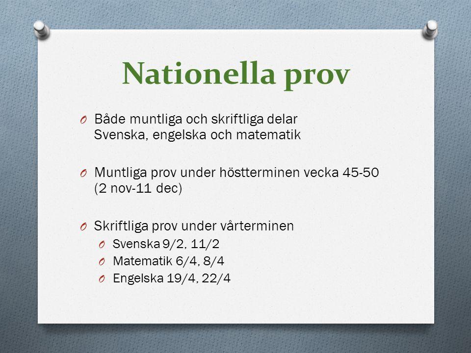 Nationella prov O Både muntliga och skriftliga delar Svenska, engelska och matematik O Muntliga prov under höstterminen vecka 45-50 (2 nov-11 dec) O S