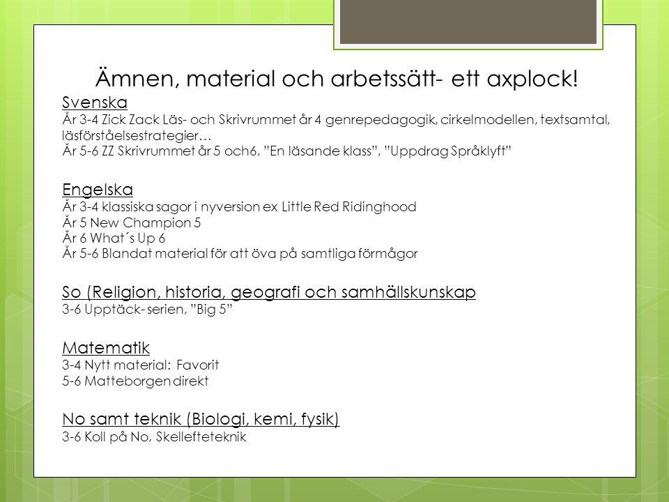 Ämnen, material och arbetssätt- ett axplock! Svenska År 3-4 Zick Zack Läs- och Skrivrummet år 4 genrepedagogik, cirkelmodellen, textsamtal, läsförståe