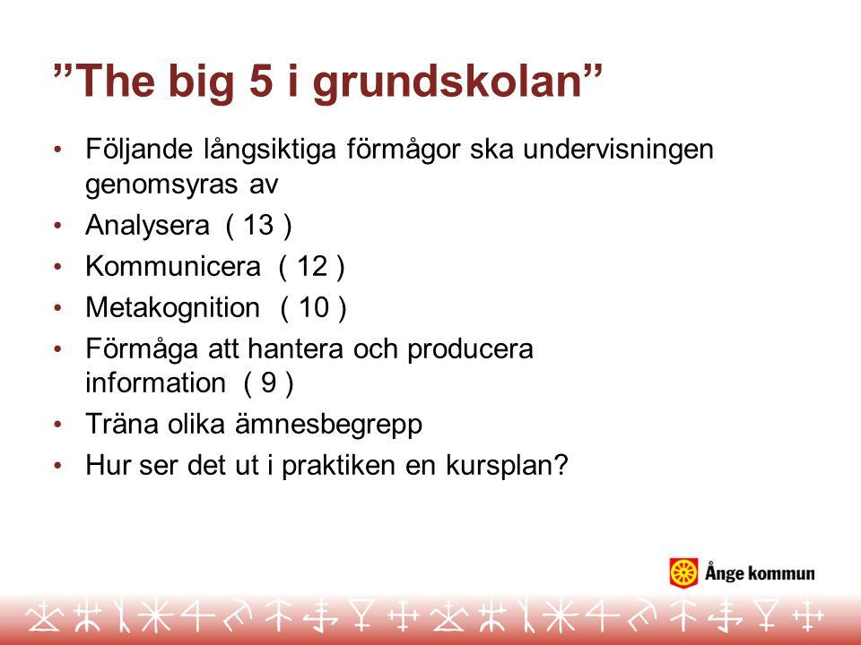 The big 5 i grundskolan Följande långsiktiga förmågor ska undervisningen genomsyras av Analysera( 13 ) Kommunicera ( 12 ) Metakognition ( 10 ) Förmåga att hantera och producera information ( 9 ) Träna olika ämnesbegrepp Hur ser det ut i praktiken en kursplan