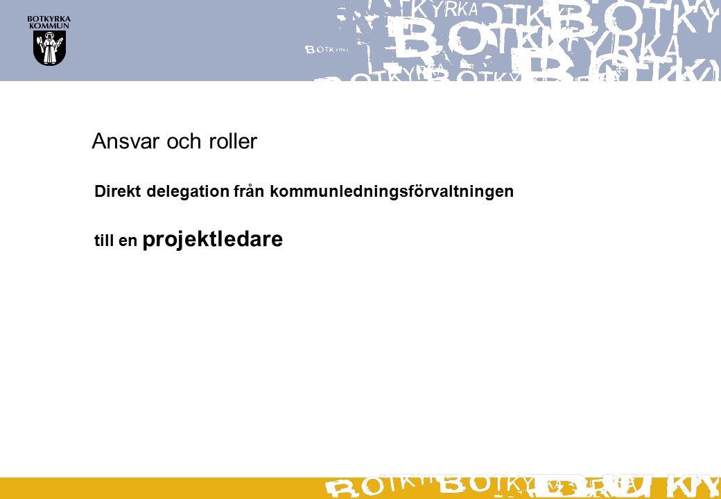 Ansvar och roller Direkt delegation från kommunledningsförvaltningen till en projektledare