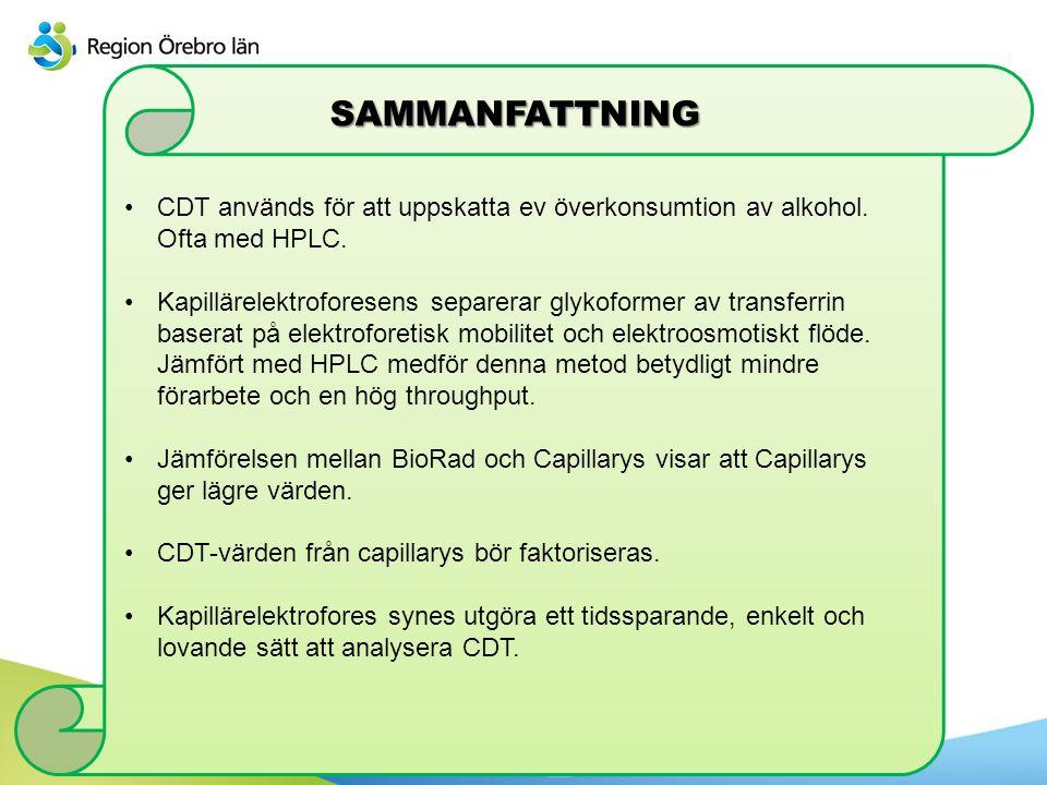 SAMMANFATTNING CDT används för att uppskatta ev överkonsumtion av alkohol. Ofta med HPLC. Kapillärelektroforesens separerar glykoformer av transferrin