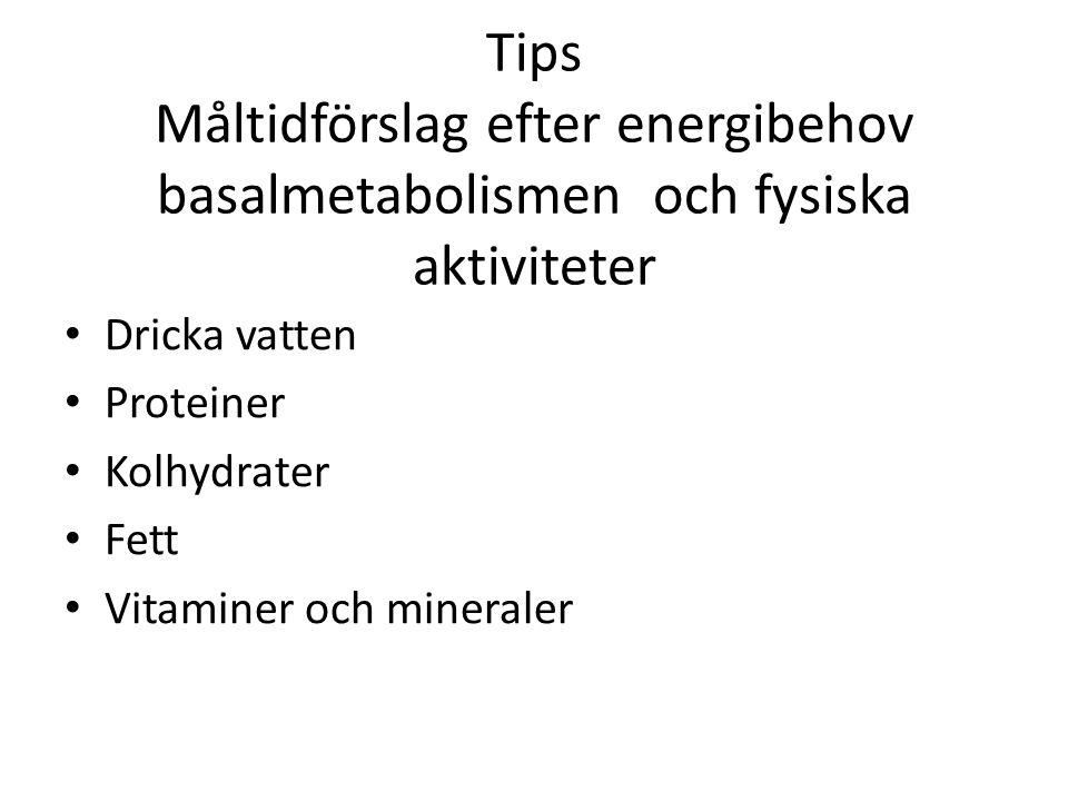 Tips Måltidförslag efter energibehov basalmetabolismen och fysiska aktiviteter Dricka vatten Proteiner Kolhydrater Fett Vitaminer och mineraler