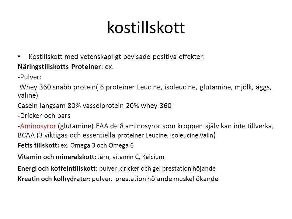 kostillskott Kostillskott med vetenskapligt bevisade positiva effekter: Näringstillskotts Proteiner: ex.