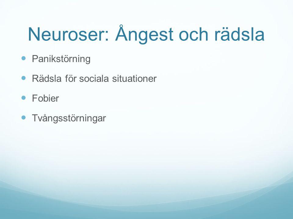 Neuroser: Ångest och rädsla Panikstörning Rädsla för sociala situationer Fobier Tvångsstörningar