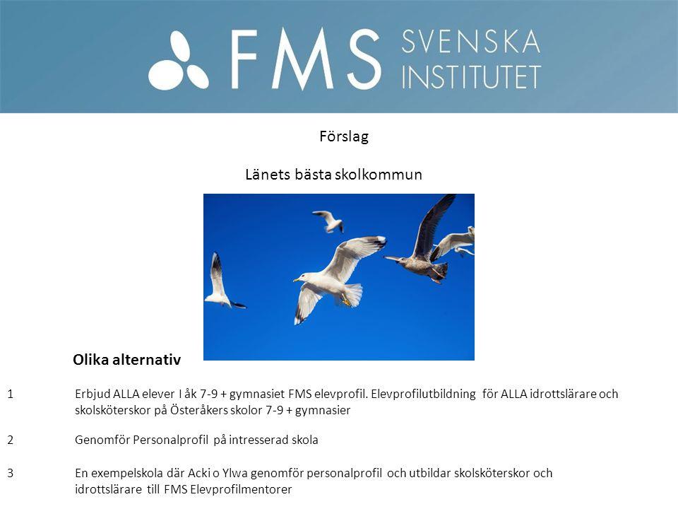 3En exempelskola där Acki o Ylwa genomför personalprofil och utbildar skolsköterskor och idrottslärare till FMS Elevprofilmentorer Förslag Länets bäst