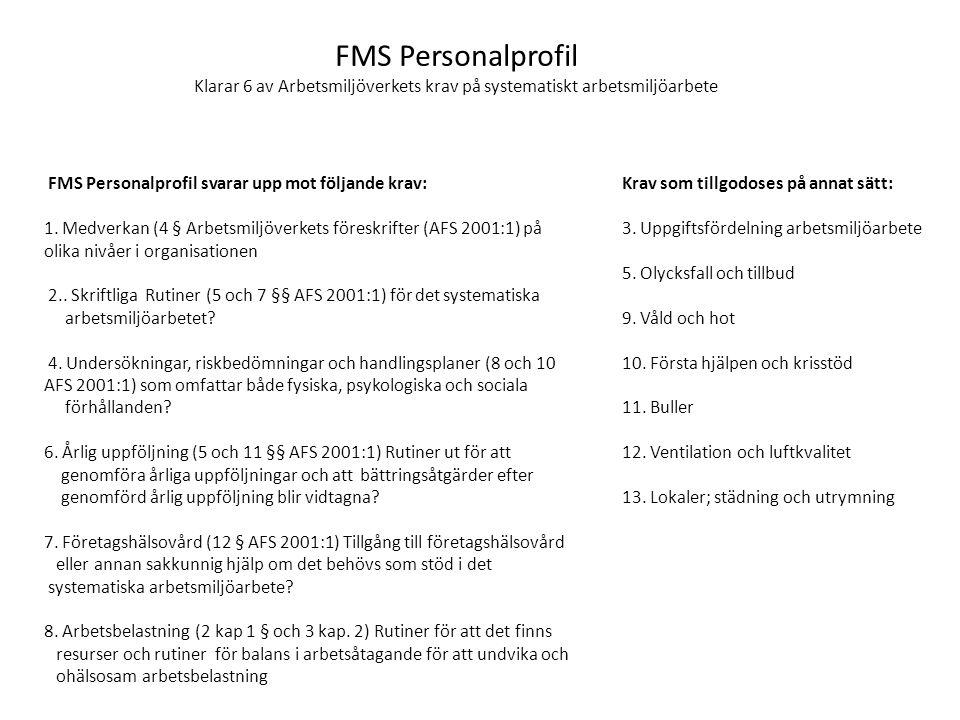 FMS Personalprofil Klarar 6 av Arbetsmiljöverkets krav på systematiskt arbetsmiljöarbete FMS Personalprofil svarar upp mot följande krav: 1. Medverkan