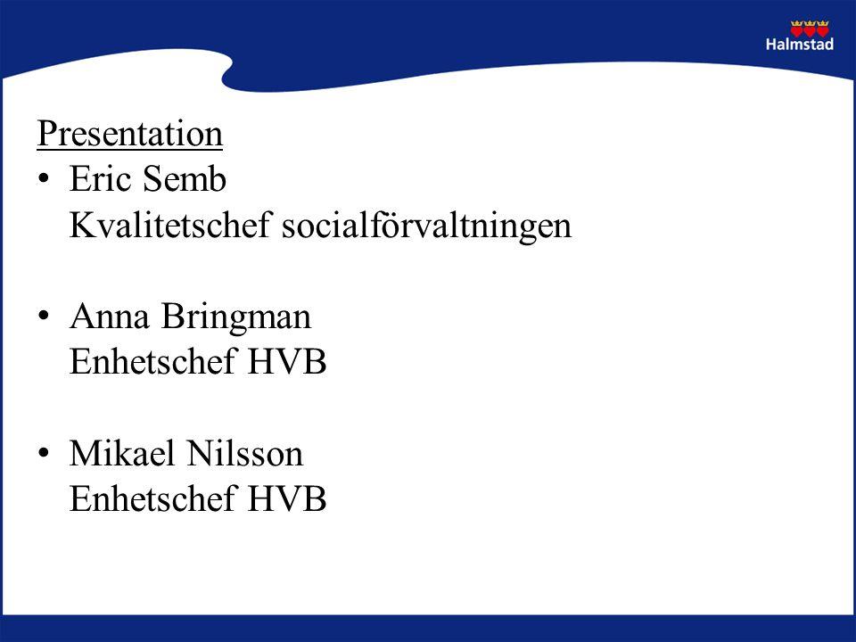 Presentation Eric Semb Kvalitetschef socialförvaltningen Anna Bringman Enhetschef HVB Mikael Nilsson Enhetschef HVB
