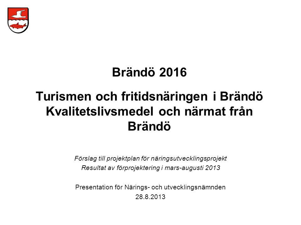 Förprojekteringen utfördes under 22.3.-9.8.2013 av Timo Lahtinen, Broadview Oy Val av näringar för utveckling –turism och fritidsverksamhet –livsmedel och närmat Arbetets gång –kick-off verkstäder med företagare i Brändö –utredningar och nulägesanalys, företagarintervjuer, partner- och intresseorgansträffar, webbenchmarking och litteratur- och statistikutredningar –uppskattning av näringspotential och kontakter med potentiella utvecklings- och affärspartners –utkast av utvecklingsmålsättningar och -prioriteter –skissering och uppskattning av utvecklingsidéer och -koncept –utarbetande av projektplan för näringsutvecklingsprojektet 2013-2016 Förprojektering
