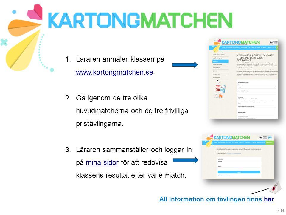 / 14 1.Läraren anmäler klassen på www.kartongmatchen.se www.kartongmatchen.se 2.Gå igenom de tre olika huvudmatcherna och de tre frivilliga pristävlingarna.