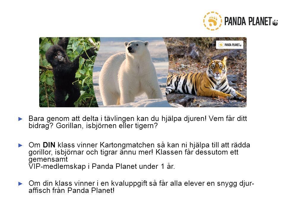 ► Bara genom att delta i tävlingen kan du hjälpa djuren.