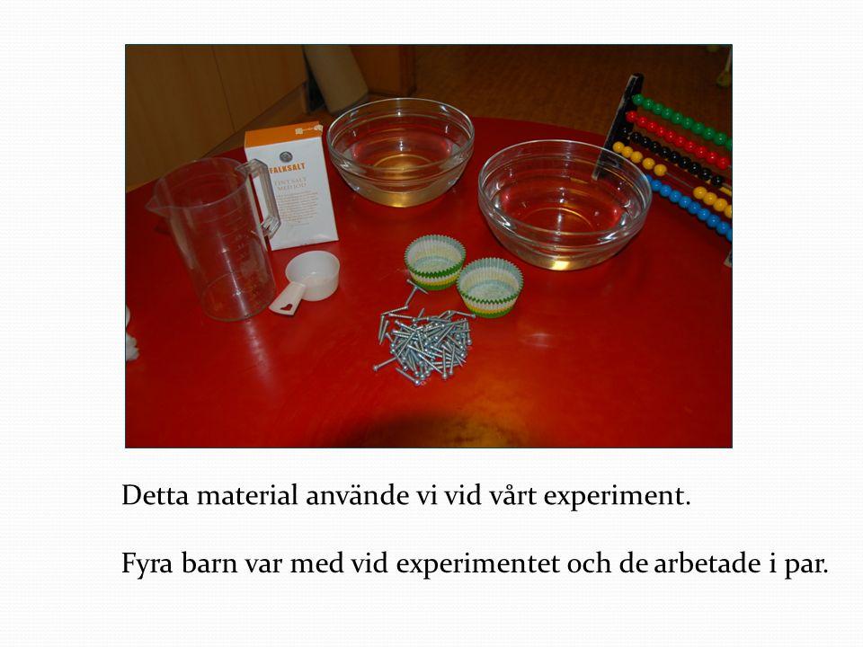 Detta material använde vi vid vårt experiment. Fyra barn var med vid experimentet och de arbetade i par.
