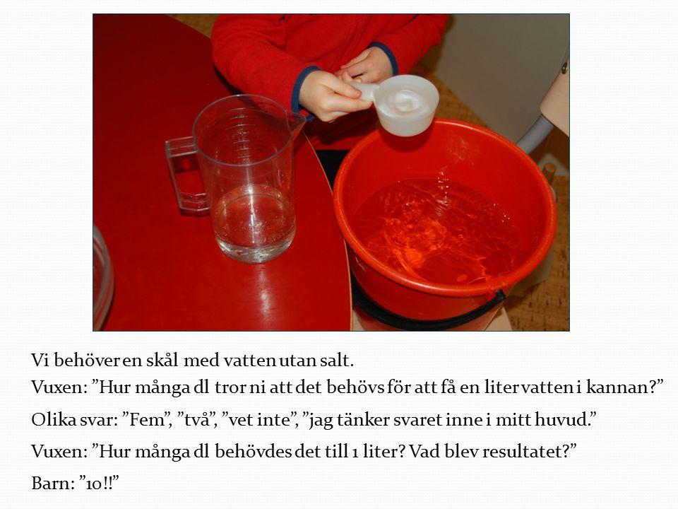 """Vi behöver en skål med vatten utan salt. Vuxen: """"Hur många dl tror ni att det behövs för att få en liter vatten i kannan?"""" Olika svar: """"Fem"""", """"två"""", """""""