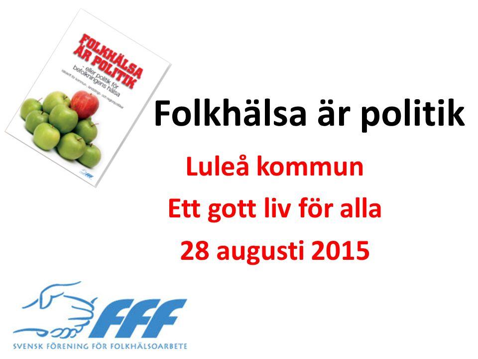 Folkhälsa är politik Luleå kommun Ett gott liv för alla 28 augusti 2015