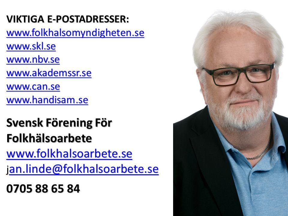 VIKTIGA E-POSTADRESSER: www.folkhalsomyndigheten.se www.skl.se www.nbv.se www.akademssr.se www.can.se www.handisam.se Svensk Förening För Folkhälsoarbete www.folkhalsoarbete.se j an.linde@folkhalsoarbete.se an.linde@folkhalsoarbete.se 0705 88 65 84