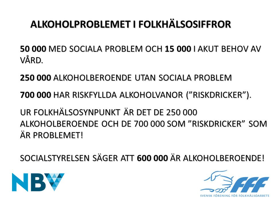 ALKOHOLPROBLEMET I FOLKHÄLSOSIFFROR 50 000 MED SOCIALA PROBLEM OCH 15 000 I AKUT BEHOV AV VÅRD. 250 000 ALKOHOLBEROENDE UTAN SOCIALA PROBLEM 700 000 H