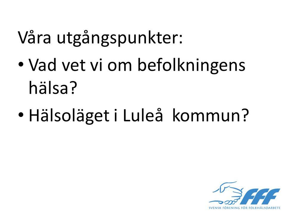 Våra utgångspunkter: Vad vet vi om befolkningens hälsa? Hälsoläget i Luleå kommun?