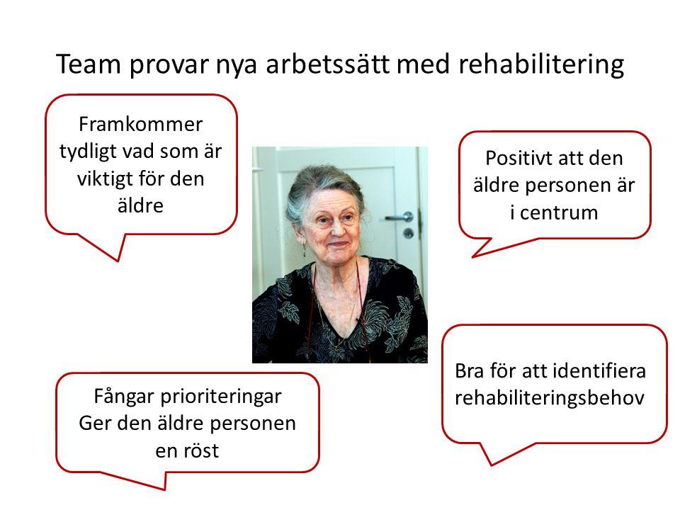 Framkommer tydligt vad som är viktigt för den äldre Team provar nya arbetssätt med rehabilitering Fångar prioriteringar Ger den äldre personen en röst