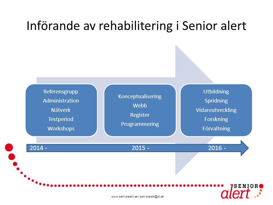 www.senioralert.se | senioralert@rjl.se Införande av rehabilitering i Senior alert Referensgrupp Administration Nätverk Testperiod Workshops Konceptua