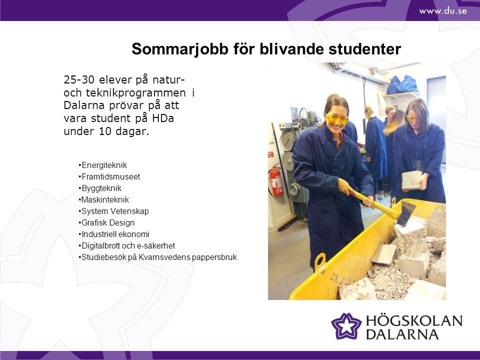 25-30 elever på natur- och teknikprogrammen i Dalarna prövar på att vara student på HDa under 10 dagar. Energiteknik Framtidsmuseet Byggteknik Maskint