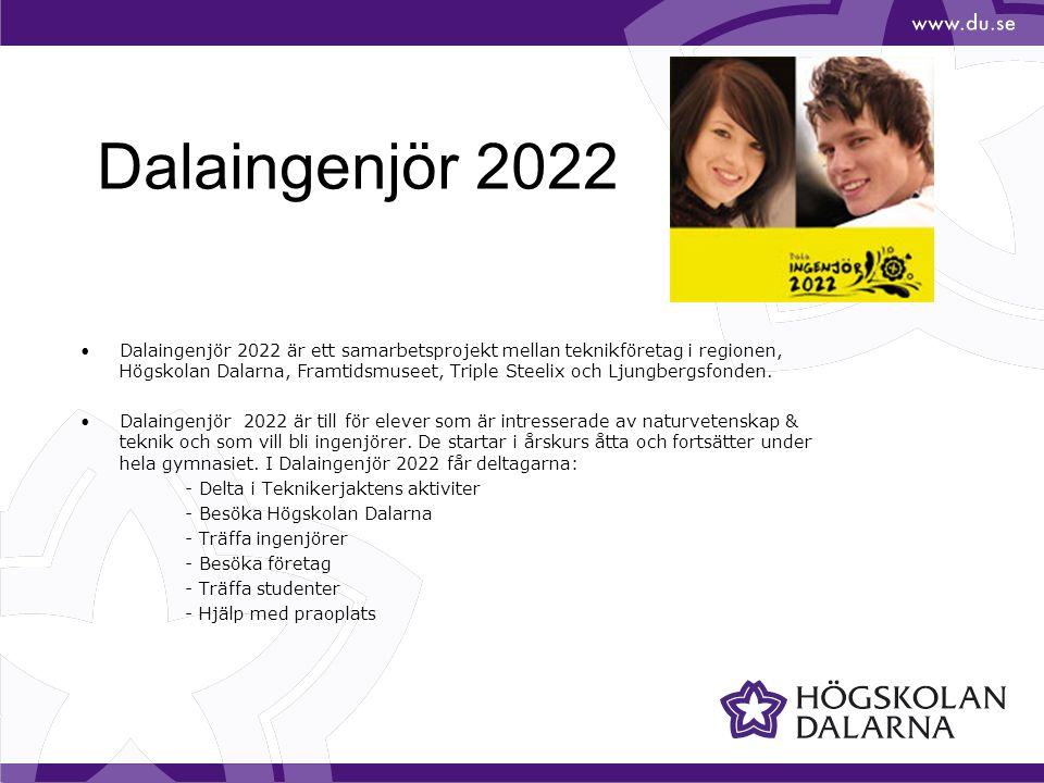 Dalaingenjör 2022 Dalaingenjör 2022 är ett samarbetsprojekt mellan teknikföretag i regionen, Högskolan Dalarna, Framtidsmuseet, Triple Steelix och Lju