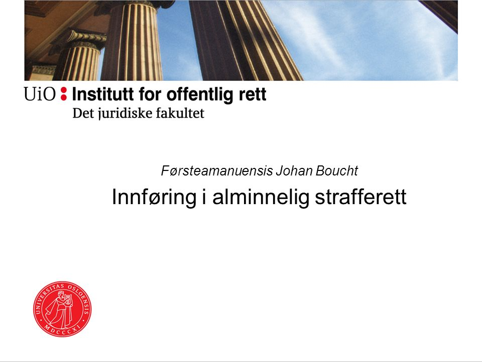 Førsteamanuensis Johan Boucht Innføring i alminnelig strafferett