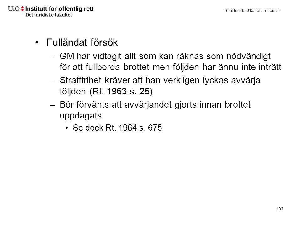 Strafferett/2015/Johan Boucht Fulländat försök –GM har vidtagit allt som kan räknas som nödvändigt för att fullborda brottet men följden har ännu inte