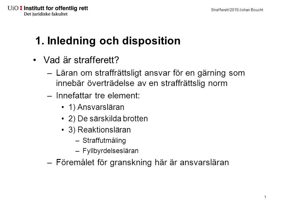 Strafferett/2015/Johan Boucht Disposition 1) Inledning till strafferetten –Vad är straff.