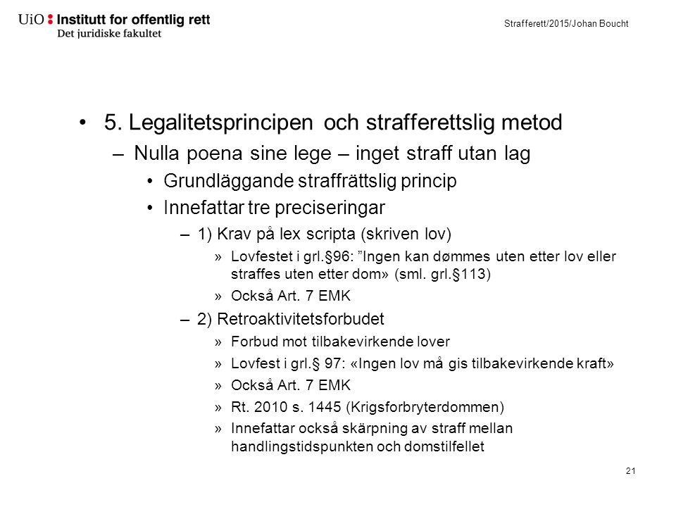 Strafferett/2015/Johan Boucht 5. Legalitetsprincipen och strafferettslig metod –Nulla poena sine lege – inget straff utan lag Grundläggande straffrätt