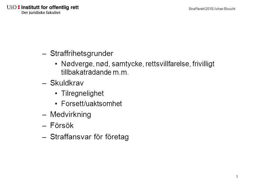 Strafferett/2015/Johan Boucht –Utgångspunkten i norsk rett är adferdsregulering  Prevention (både allmän- och individual) Ot.prp.
