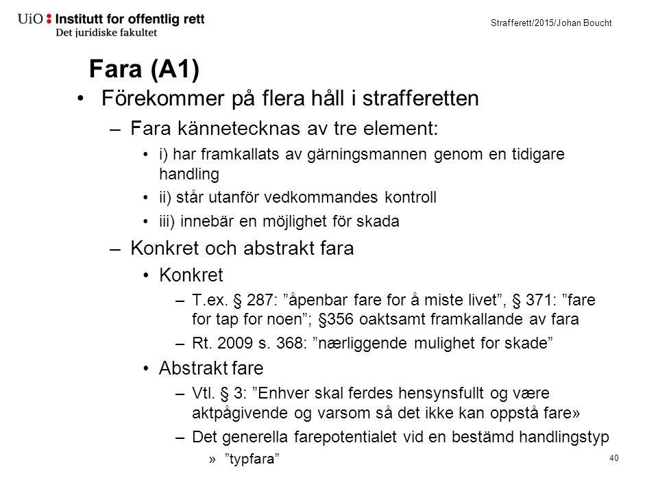Strafferett/2015/Johan Boucht Fara (A1) Förekommer på flera håll i strafferetten –Fara kännetecknas av tre element: i) har framkallats av gärningsmann