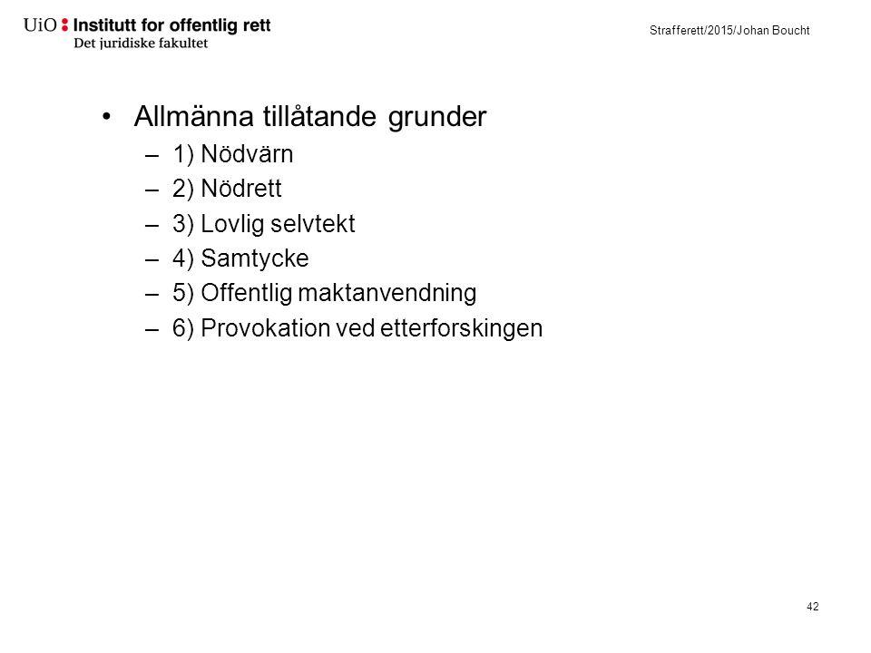 Strafferett/2015/Johan Boucht Allmänna tillåtande grunder –1) Nödvärn –2) Nödrett –3) Lovlig selvtekt –4) Samtycke –5) Offentlig maktanvendning –6) Pr