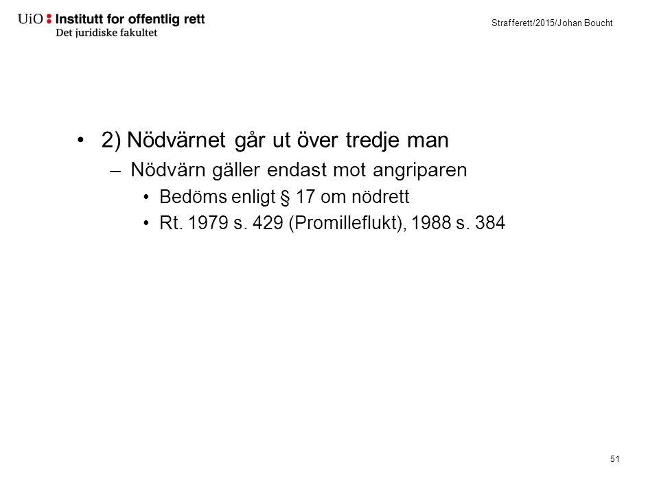 Strafferett/2015/Johan Boucht 2) Nödvärnet går ut över tredje man –Nödvärn gäller endast mot angriparen Bedöms enligt § 17 om nödrett Rt. 1979 s. 429