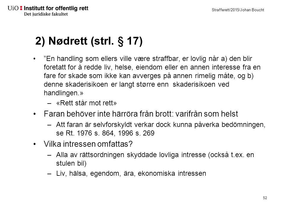 """Strafferett/2015/Johan Boucht 2) Nødrett (strl. § 17) """"En handling som ellers ville være straffbar, er lovlig når a) den blir foretatt for å redde liv"""