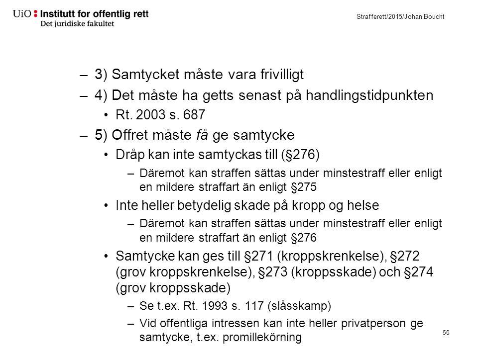 Strafferett/2015/Johan Boucht –3) Samtycket måste vara frivilligt –4) Det måste ha getts senast på handlingstidpunkten Rt. 2003 s. 687 –5) Offret måst