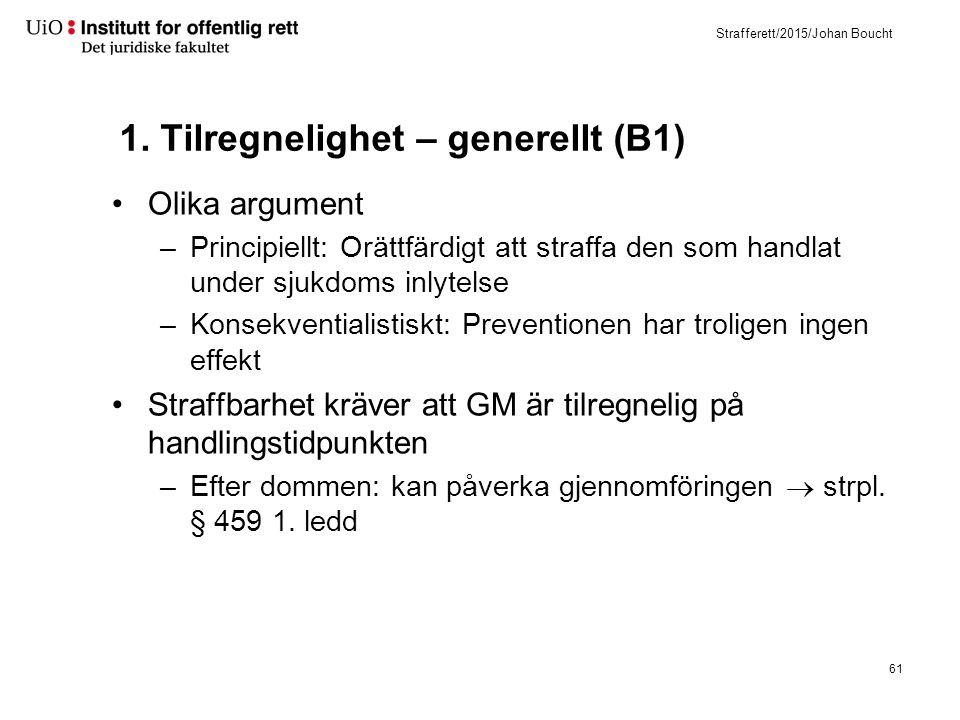 Strafferett/2015/Johan Boucht 1. Tilregnelighet – generellt (B1) Olika argument –Principiellt: Orättfärdigt att straffa den som handlat under sjukdoms