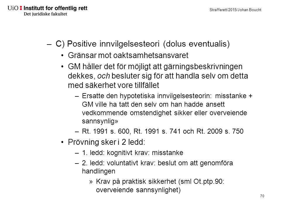 Strafferett/2015/Johan Boucht –C) Positive innvilgelsesteori (dolus eventualis) Gränsar mot oaktsamhetsansvaret GM håller det för möjligt att gärnings