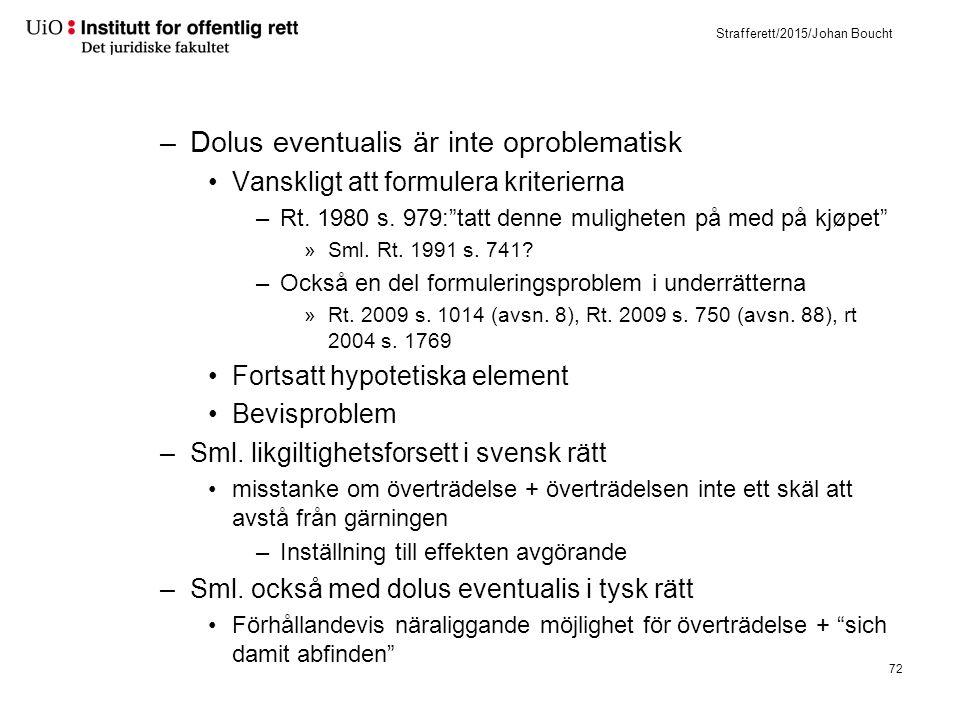 """Strafferett/2015/Johan Boucht –Dolus eventualis är inte oproblematisk Vanskligt att formulera kriterierna –Rt. 1980 s. 979:""""tatt denne muligheten på m"""
