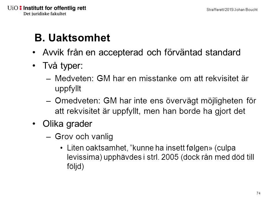 Strafferett/2015/Johan Boucht B. Uaktsomhet Avvik från en accepterad och förväntad standard Två typer: –Medveten: GM har en misstanke om att rekvisite