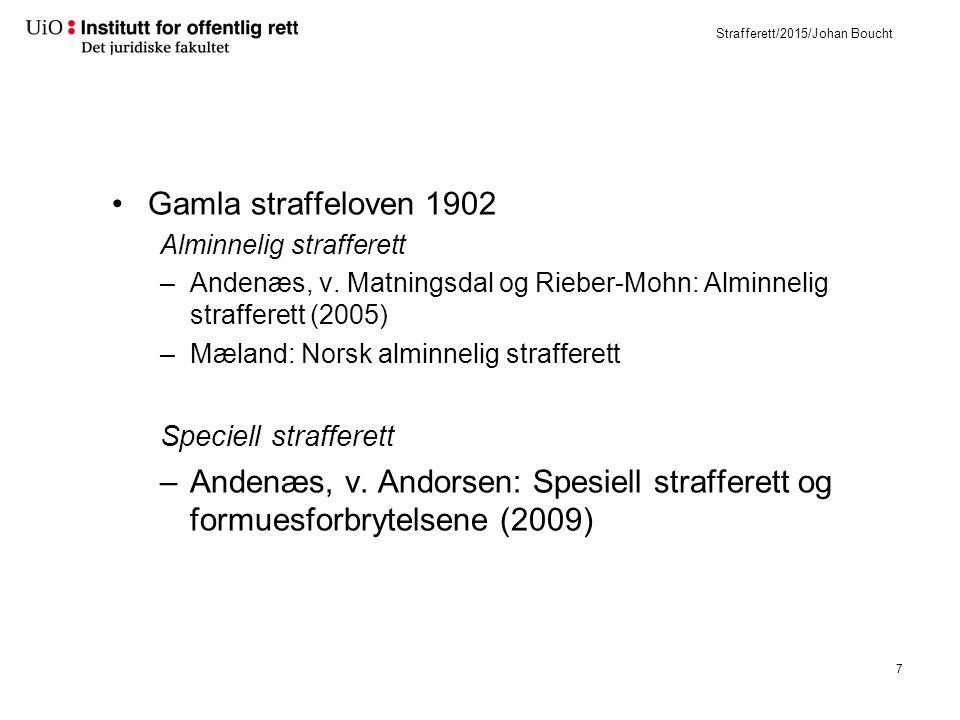 Strafferett/2015/Johan Boucht Gamla straffeloven 1902 Alminnelig strafferett –Andenæs, v. Matningsdal og Rieber-Mohn: Alminnelig strafferett (2005) –M