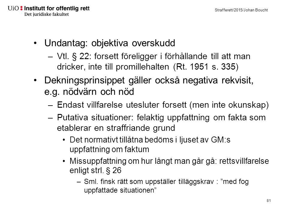 Strafferett/2015/Johan Boucht Undantag: objektiva overskudd –Vtl. § 22: forsett föreligger i förhållande till att man dricker, inte till promillehalte